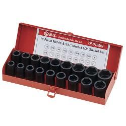 "Genius Tools TF-019MS 18PC 1/2"" Dr. SAE & Metric Impact Socket Set"