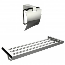American Imagination AI-13332 Multi-Rod Towel Rack With A Chrome Plated Toilet Paper Holder Accessory Set:divider_comma:Rectangl
