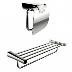 American Imagination AI-13338 Multi-Rod Towel Rack With A Chrome Plated Toilet Paper Holder Accessory Set:divider_comma:Rectangl