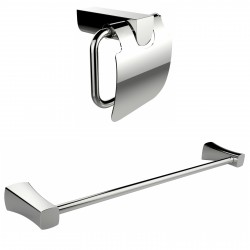 American Imagination AI-13337 Chrome Plated Toilet Paper Holder With Single Rod Towel Rack Accessory Set:divider_comma:Rectangle
