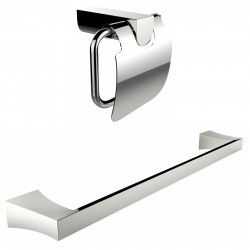 American Imagination AI-13339 Chrome Plated Toilet Paper Holder With Single Rod Towel Rack Accessory Set:divider_comma:Rectangle