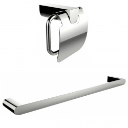 American Imagination AI-13341 Chrome Plated Toilet Paper Holder With Single Rod Towel Rack Accessory Set:divider_comma:Rectangle
