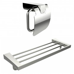 American Imagination AI-13340 Chrome Plated Toilet Paper Holder With Multi-Rod Towel Rack Accessory Set:divider_comma:Rectangle