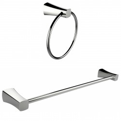 American Imagination AI-13346 Chrome Plated Towel Ring With Single Rod Towel Rack Accessory Set:divider_comma:Round