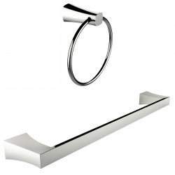 American Imagination AI-13348 Chrome Plated Towel Ring With Single Rod Towel Rack Accessory Set:divider_comma:Round