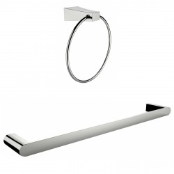 American Imagination AI-13358 Chrome Plated Towel Ring With Single Rod Towel Rack Accessory Set:divider_comma:Round
