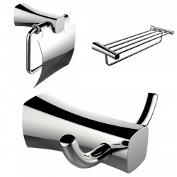 American Imagination AI-13419 Robe Hook:divider_comma: Toilet Paper Holder & Multi-Rod Towel Rack Accessory Set:divider_comma:Re