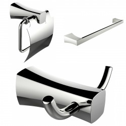 American Imagination AI-13420 Robe Hook:divider_comma: Toilet Paper Holder & Single Rod Towel Rack Accessory Set:divider_comma:R