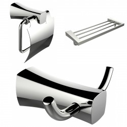 American Imagination AI-13421 Robe Hook:divider_comma: Toilet Paper Holder & Multi-Rod Towel Rack Accessory Set:divider_comma:Re