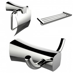 American Imagination AI-13423 Robe Hook:divider_comma: Toilet Paper Holder & Single Rod Towel Rack Accessory Set:divider_comma:R