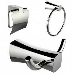 American Imagination AI-13425 Toilet Paper Holder:divider_comma: Towel Ring & Robe Hook Accessory Set:divider_comma:Rectangle:di