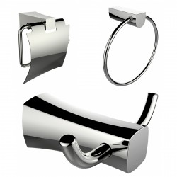American Imagination AI-13427 Robe Hook:divider_comma: Toilet Paper Holder & Towel Ring Accessory Set:divider_comma:Rectangle:di