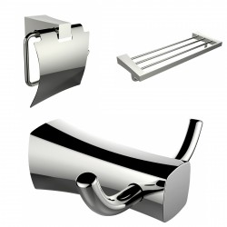 American Imagination AI-13431 Multi-Rod Towel Rack:divider_comma: Robe Hook:divider_comma: & Toilet Paper Holder Accessory Set:d