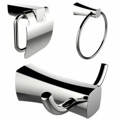 American Imagination AI-13434 Robe Hook:divider_comma: Toilet Paper Holder & Towel Ring Accessory Set:divider_comma:Rectangle:di