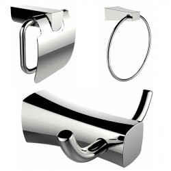 American Imagination AI-13435 Robe Hook:divider_comma: Toilet Paper Holder & Towel Ring Accessory Set:divider_comma:Rectangle:di