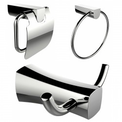American Imagination AI-13436 Robe Hook:divider_comma: Toilet Paper Holder & Towel Ring Accessory Set:divider_comma:Rectangle:di
