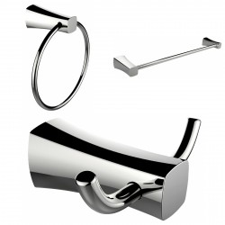 American Imagination AI-13445 Chrome Plated Towel Ring:divider_comma: Double Robe Hook & Single Rod Towel Rack Accessory Set:div