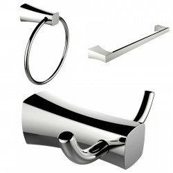 American Imagination AI-13447 Chrome Plated Towel Ring:divider_comma: Double Robe Hook & Single Rod Towel Rack Accessory Set:div