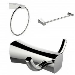 American Imagination AI-13452 Chrome Plated Towel Ring:divider_comma: Double Robe Hook & Single Rod Towel Rack Accessory Set:div