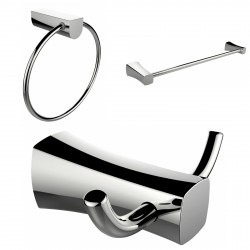 American Imagination AI-13458 Chrome Plated Towel Ring:divider_comma: Double Robe Hook & Single Rod Towel Rack Accessory Set:div