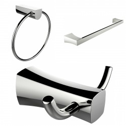 American Imagination AI-13460 Chrome Plated Towel Ring:divider_comma: Double Robe Hook & Single Rod Towel Rack Accessory Set:div