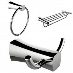 American Imagination AI-13446 Chrome Plated Towel Ring:divider_comma: Double Robe Hook & A Multi-Rod Towel Rack Accessory Set:di