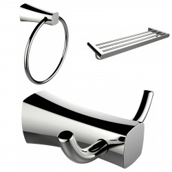 American Imagination AI-13450 Chrome Plated Towel Ring:divider_comma: Double Robe Hook & A Multi-Rod Towel Rack Accessory Set:di