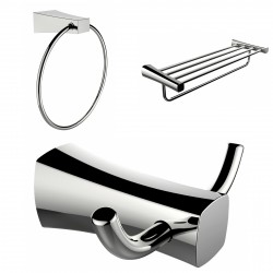 American Imagination AI-13453 Chrome Plated Towel Ring:divider_comma: Double Robe Hook & A Multi-Rod Towel Rack Accessory Set:di