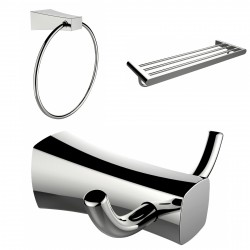 American Imagination AI-13457 Chrome Plated Towel Ring:divider_comma: Double Robe Hook & A Multi-Rod Towel Rack Accessory Set:di