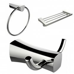 American Imagination AI-13461 Chrome Plated Towel Ring:divider_comma: Double Robe Hook & A Multi-Rod Towel Rack Accessory Set:di