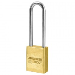 "A42D American Lock Solid Brass Non-Rekeyable Padlock Extended 3"" Shackle (Commercial Carded)"