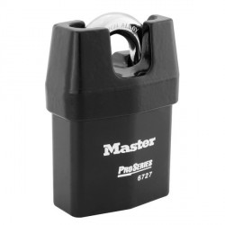 Master Lock 6727 Pro Series Door Key Compatible Solid Iron Shrouded Padlock