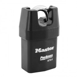 Master Lock 6721 Pro Series Door Key Compatible Solid Iron Shrouded Padlock