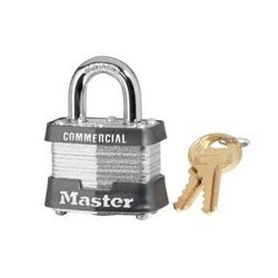 "Master Lock 3, 3KA, No. 3 Laminated Steel Padlock 1-9/16"" (40mm)"