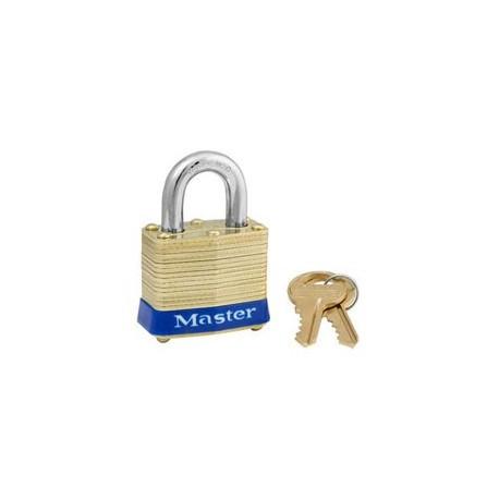 """Master Lock 4, 4ka, Non-Rekeyable Laminated Brass Pin Tumbler Padlock 1-9/16"""" (40mm)"""