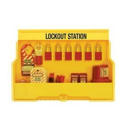 Master Lock S1850E1106 OSHA Lockout Stations with Electrical Lockout Assortment