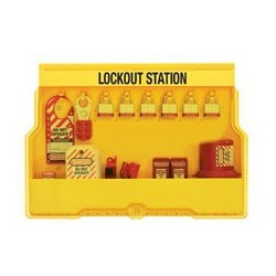 Master Lock S1850E3 OSHA Lockout Station with Electrical Lockout Assortment