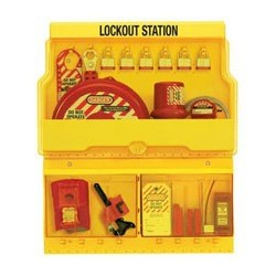 Master Lock S1900VE3 OSHA Deluxe Lockout Station with Valve and Electrical Lockout Assortment