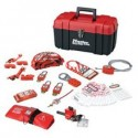 Master Lock 1457VE410KA - Portable Personal Lockout Kit with Plastic Locks - Valve AND Electrical with Grip Tight Devices