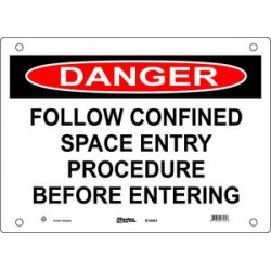 Master Lock S14450, S14451, S14452 DANGER Sign - FOLLOW CONFINED SPACE ENTRY PROCEDURE BEFORE ENTERING
