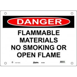Master Lock S14350, S14351, S14352 DANGER Sign - FLAMMABLE MATERIALS NO SMOKING OR OPEN FLAME