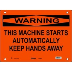 Master Lock S28550, S28551, S28552 WARNING Sign - THIS MACHINE STARTS AUTOMATICALLY KEEP HANDS AWAY