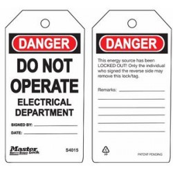 Master Lock S4015 Guardian Extreme Danger Tag - Do Not Operate - Electrical Department