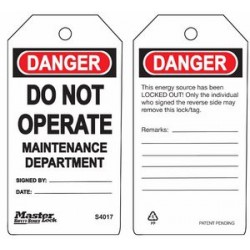 Master Lock S4017 Guardian Extreme Danger Tag - Do Not Operate - Maintenance Department