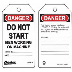 Master Lock S4024 Guardian Extreme Danger Tag - Do Not Start - Men Working