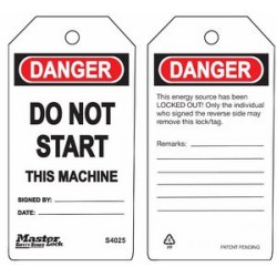 Master Lock S4025 Guardian Extreme Danger Tag - Do Not Start - This Machine