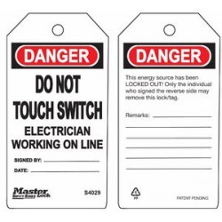 Master Lock S4029 Guardian Extreme Danger Tag - Do Not Touch Switch - Electrician Working On Line