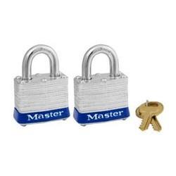 "Master Lock 3T Non-Rekeyable Laminated Steel Pin Tumbler Padlock 1-9/16"" (40mm) - 2 Pack"