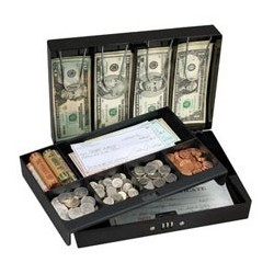 Master Lock 7147D Combination Locking Cash Box With 6 Compartment Tray