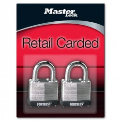 "Master Lock 1803T Fortress Series Laminated Steel Pin Tumbler Padlock, 1-1/2"" (38mm) 2-pack"